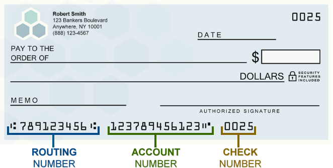 How to locate account and routing number using a check